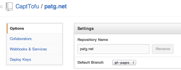 default branch gh-pages